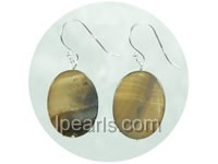 15*20mm brown oval natural shell dagling earrings