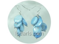 8mm blue coin-shaped shell dangling earrings