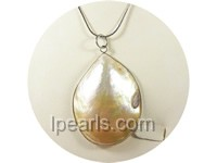 4.5*6cm yellow color oval shell pendant