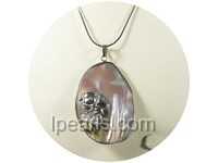 3.5*5.5cm rainbow oval shell pendant with monkey design