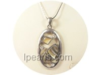 3*5.5cm oval shape black shell pendant with zircon