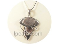 4*5cm black oval and triangle shape shell pendant