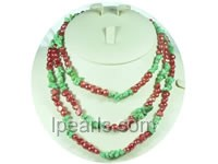 6-7mm red nugget freshwater pearl rope necklace with turquoise