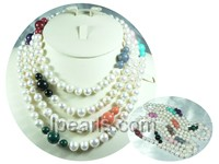 multicolor Jacinth and white potato pearl rope necklace