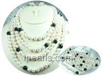 white potato freshwater pearl rope necklace with agates