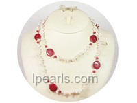 6-7mm side-drilled freshwater pearl necklace with coral