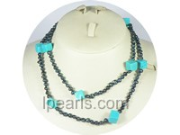 "wholesale 36"" 4-5mm black nugget pearl necklace"