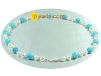 blue turquoise and 7-8mm potato pearls necklace