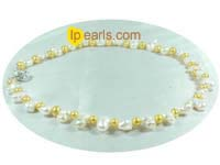 rare white peanut and 5-6mm potato cultured pearl necklace