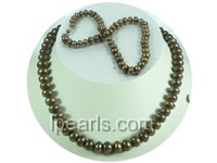 9-10mm brown cultured freshwater jewelry pearl necklace