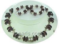 5-6mm white potato pearl necklace with purple crystal