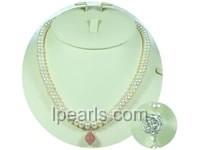 7-8mm white button freshwater pearl jewelry single necklace