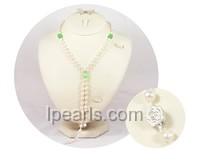 6-7mm white potato freshwater pearl necklace with opal