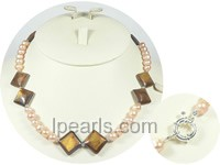 7-8mm pink freshwater pearl necklace with shells