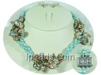 three rows pretty blister and blue potato pearl twisted necklace