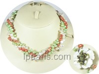 wholesale three-rows twisted freshwater pearl necklace
