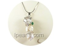 2*6cm white Keshi pearl pendant with jade bead