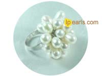 adjustable 6*8mm freshwater pearl ring with 18K GP mounting