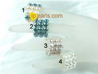 wholesale multi-color triple row freshwater pearl stretch ring