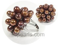6*8mm coffee color rice freshwater pearl ring