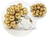 6*8mm golden yellow rice freshwater pearl ring