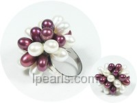 6*8mm white and electric blue rice freshwater pearl ring