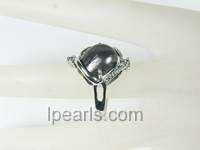 natural black abnormal freshwater pearl ring wholesale