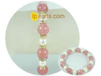 6-7mm elasticity freshwater pearl jewelry bracelet with stone