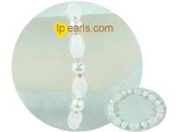 7-8mm potato pearl jewelry with crystal stretchy bracelet