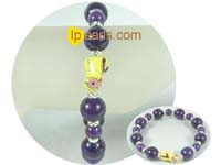 charming 8mm and 12mm dark purple gemstone bracelet