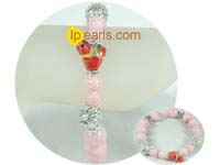 12mm and 8mm pink jade bracelet on wholesale