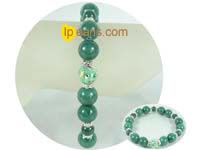 ingenious 12mm and 8mm green jade bracelet