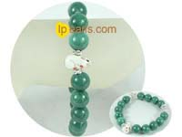 beautiful 12mm green bowlder bracelet on wholesale