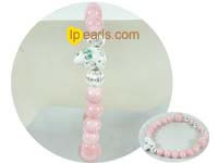 wholesale fashion 12mm and 8mm pink jade bracelet