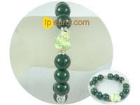wholesale 12mm dark green gemstone bracelet with zircon