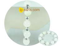12mm pure white gemstone bracelet with silver ball