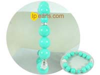 8mm and 12mm green gemstone bracelet with lantern bead