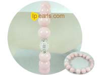 8mm and 12mm pink gemstone bracelet