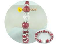 "wholesale 7.5"" red Chinese gemstone bracelet with zircon"