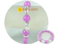"7.5"" rosy gemstone bracelet with silver cylinder beads"