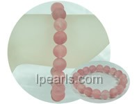 cute 10mm frosted rose quartz stretchy bracelet