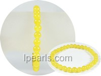 6mm dark yellow round jade stretchy bracelet