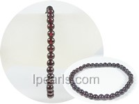 5mm wine red round garnet stretchy bracelet