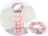 wholesale special cat eye stone clasp decorated pink jade bracel