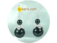 black round agate dangling earrings on wholesale