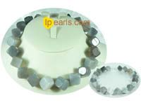 8mm grey rhombic sunglow gemstone beads necklace