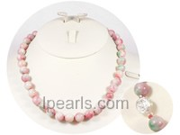 charming 10mm pink round candy jade necklace
