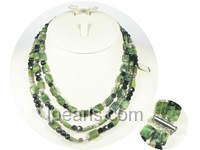 10*3mm green square gemstone necklace wholesale