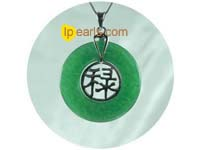 wholesale 30mm green jade with sterling silver mounting pendant