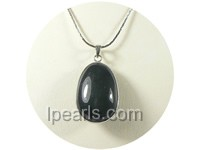 2.2*3.6cm elegant oval shape black gemstone pendant